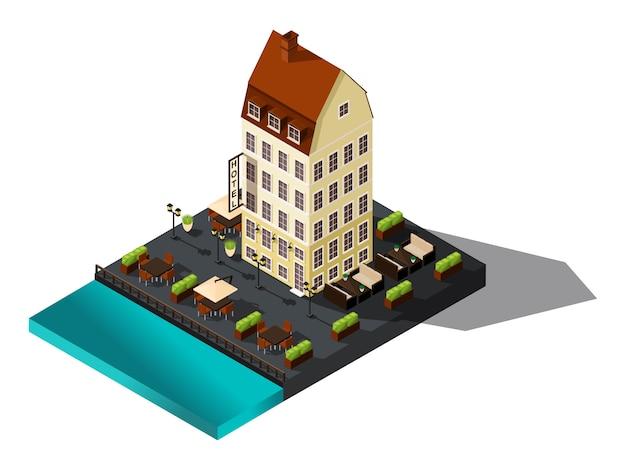 Isometrisch pictogram, oud huis aan zee, hotel, denemarken, kopenhagen, parijs, historisch stadscentrum, oud gebouw voor illustraties Premium Vector