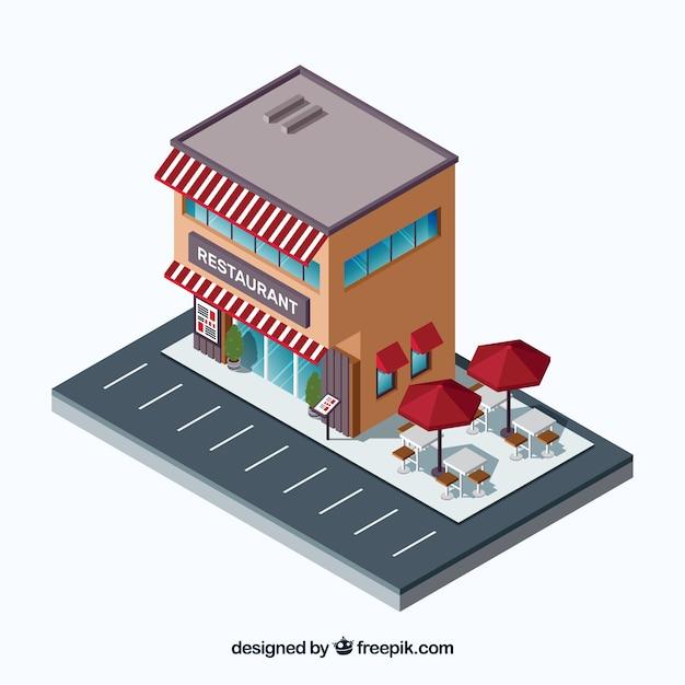 Isometrisch restaurant met parkeerplaats en terras Gratis Vector