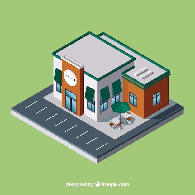 Isometrisch restaurant met parkeerplaats Gratis Vector