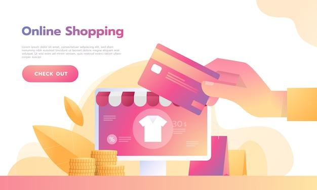 Isometrisch slim telefoon online het winkelen concept met creditcardbetaling. Premium Vector