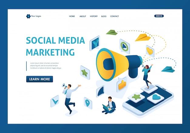 Isometrisch social media marketingconcept met karakters en een grote megafoonlandingspagina Premium Vector