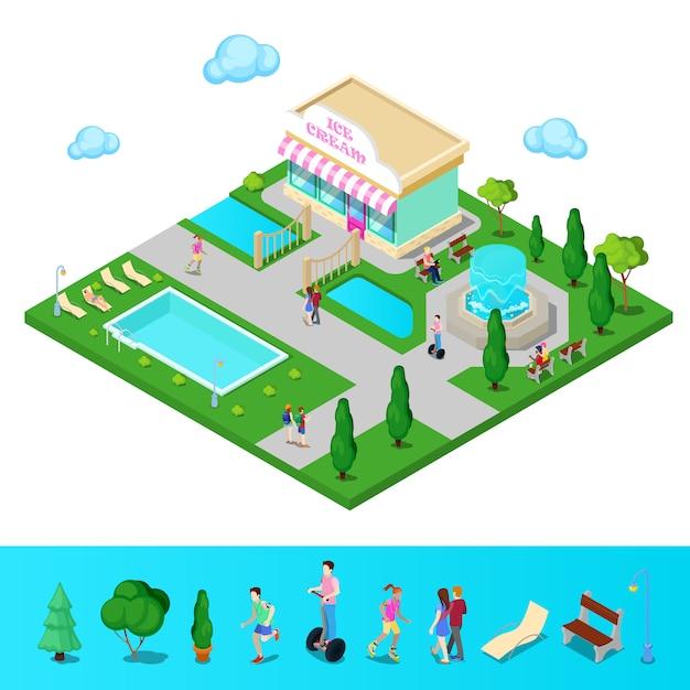 Isometrisch stadspark met fontein en zwembad. actieve mensen wandelen in het park. vector illustratie Premium Vector