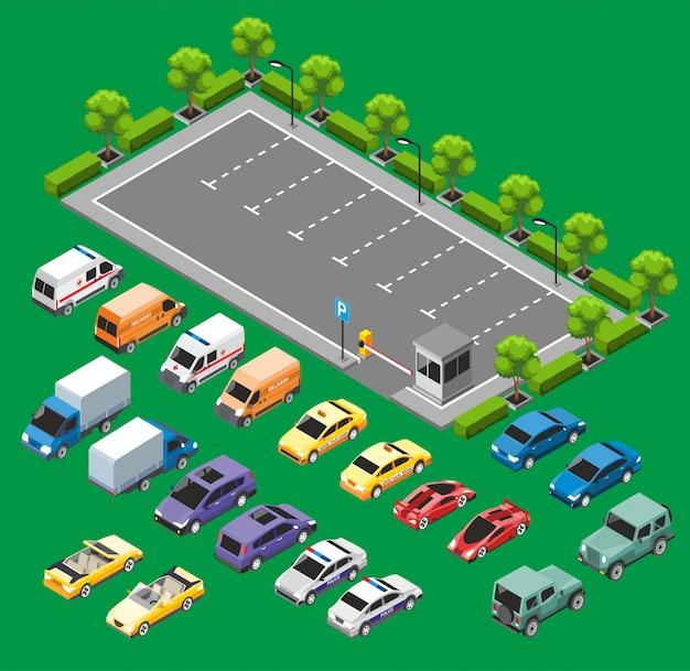 Isometrisch stedelijk transportconcept Gratis Vector