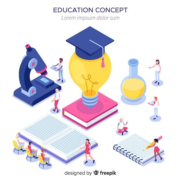 Isometrisch universitair concept met onderwijselementen Gratis Vector