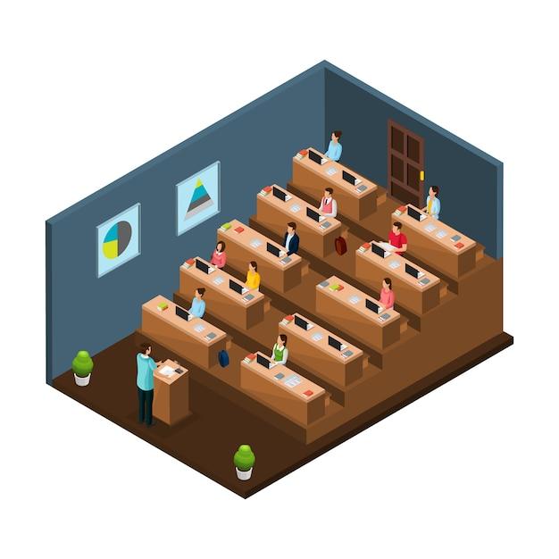 Isometrisch universitair onderwijsconcept met professor die lezing geeft aan studenten in geïsoleerd auditorium Gratis Vector