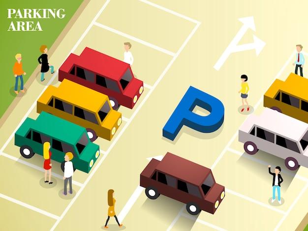 Isometrisch van parkeerplaats Premium Vector