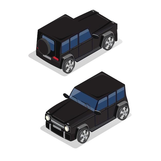 Isometrisch vervoer. offroad auto. isometrische auto. Premium Vector
