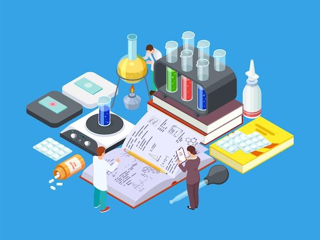 Isometrisch wetenschappelijk laboratorium Premium Vector