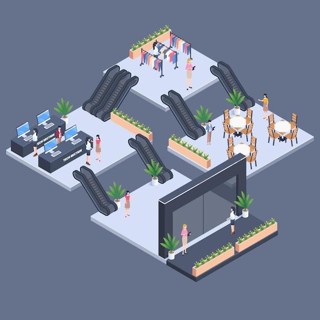 Isometrisch winkelcentrum concept Gratis Vector