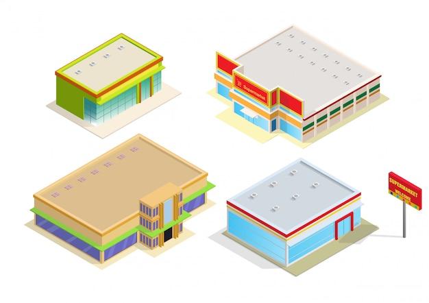 Isometrisch winkelcentrum of supermarkt gebouw pictogram Premium Vector