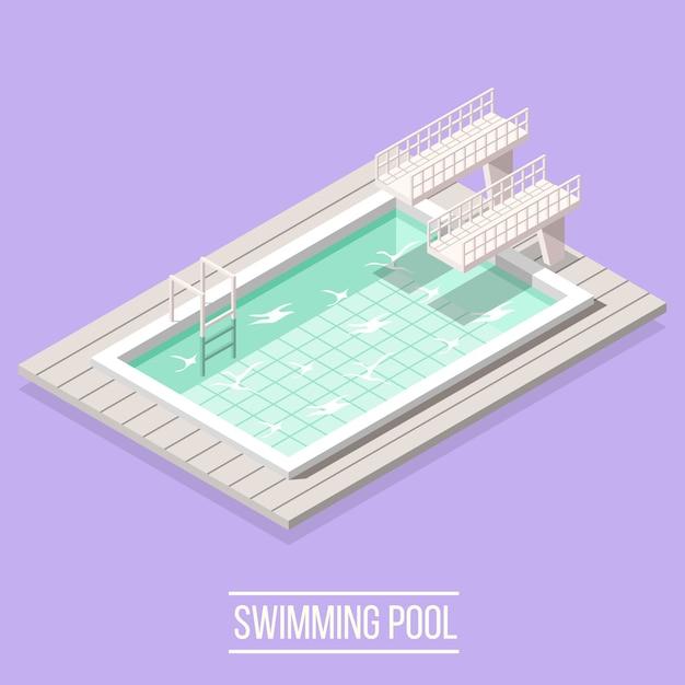 Isometrisch zwembad Gratis Vector