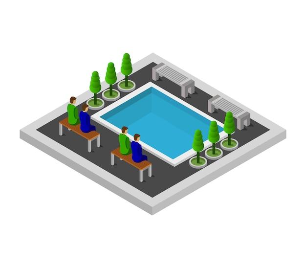 Isometrisch zwembad Premium Vector