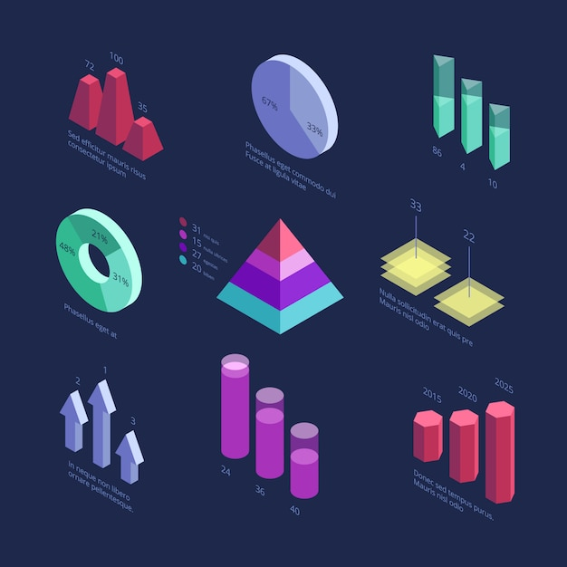Isometrische 3d-bedrijfsstatistieken gegevensgrafieken, percentagediagram, financiële groeigrafiek Premium Vector