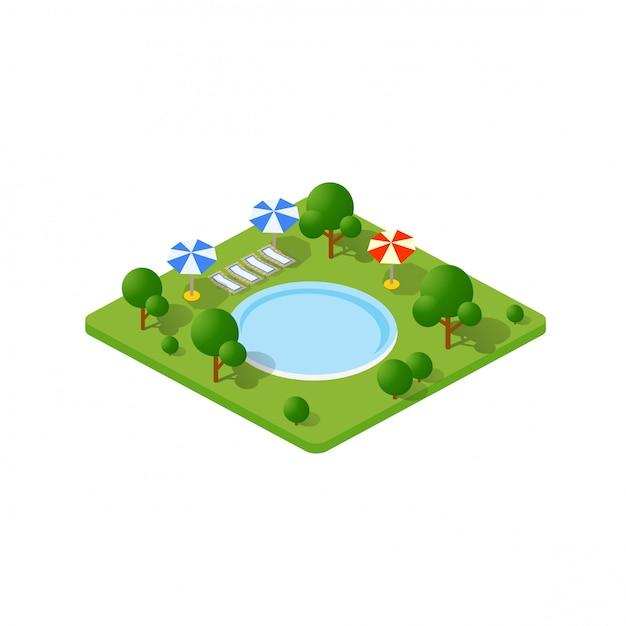 Isometrische 3d-bomen park Premium Vector