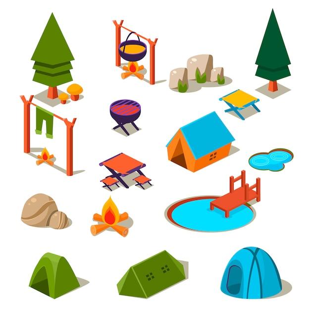 Isometrische 3d bos camping elementen voor landschap set Premium Vector