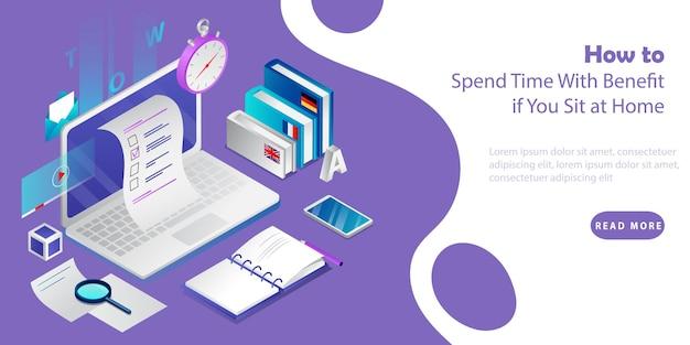 Isometrische 3d-concept van e-leren en zelfeducatie. laptop met boeken, smartphone, hulpmiddelen voor werken op afstand en onderwijs. concept van het aanbieden van tijd doorbrengen met voordelen. vector illustratie Premium Vector