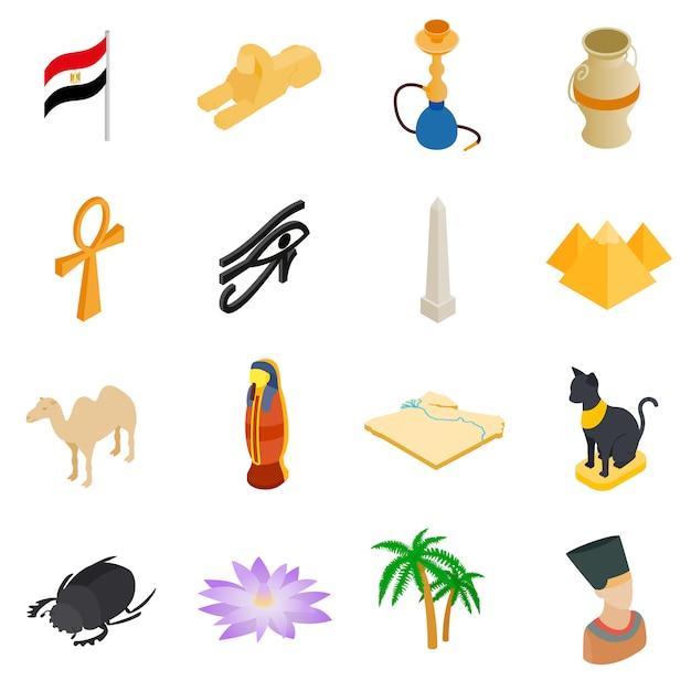 Isometrische 3d die pictogrammen van egypte op witte achtergrond worden geïsoleerd Premium Vector