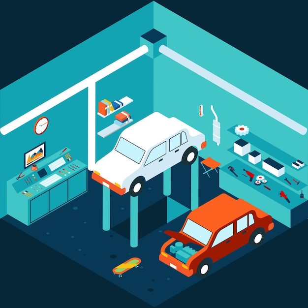 Isometrische 3d garage auto reparatie. werkplaats en auto, mechanisch heffen. vector illustratie Gratis Vector