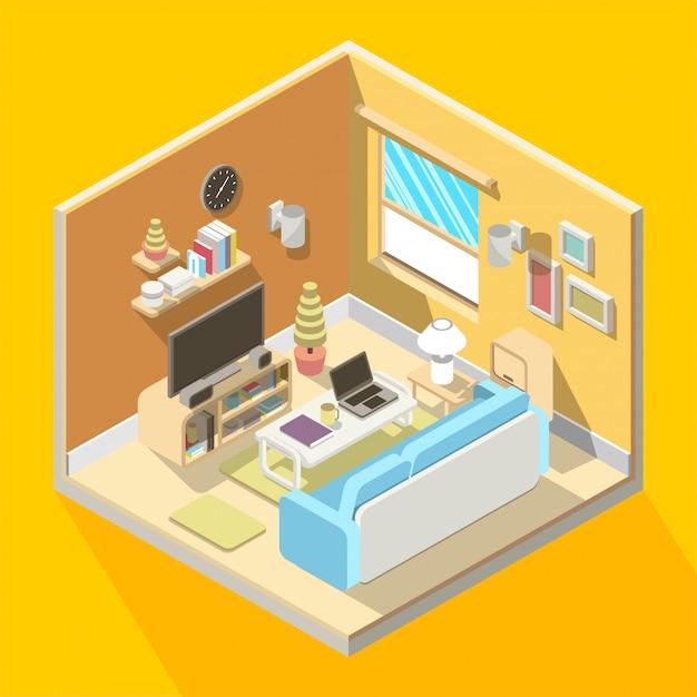 Isometrische 3d illustratie van woonkamer interieur Premium Vector