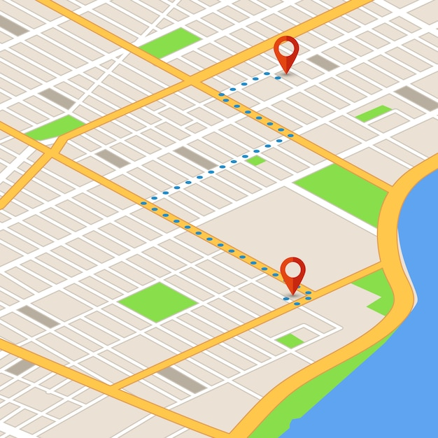 Isometrische 3d-kaart met locatie pinnen. gps-navigatie vector achtergrond Premium Vector