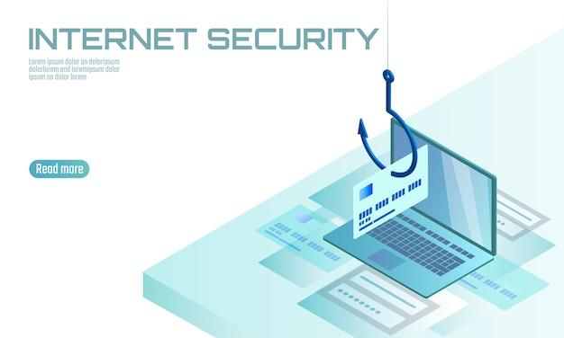 Isometrische 3d laptop creditcard cvv wachtwoord phishing. persoonlijke informatie account e-mail online zwendel hacker. spam antivirus internetbeveiliging spam concept sjabloon illustratie Premium Vector