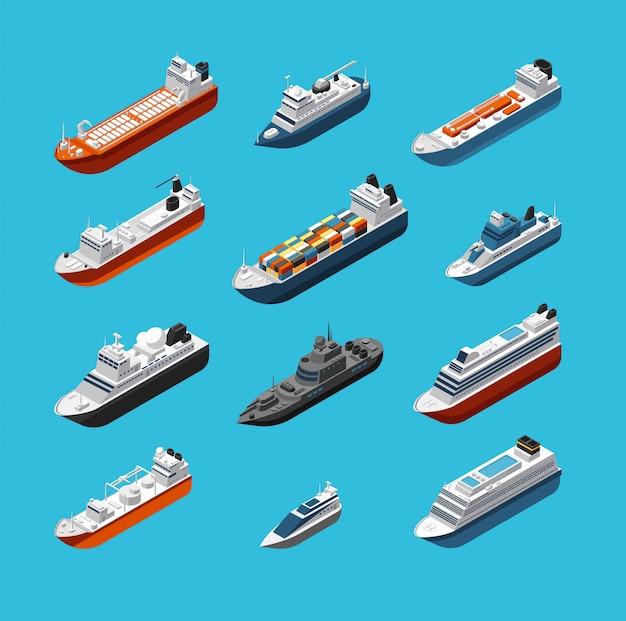 Isometrische 3d militaire en passagiersschepen, boot en jacht vector zee transport en verzending geïsoleerd Premium Vector