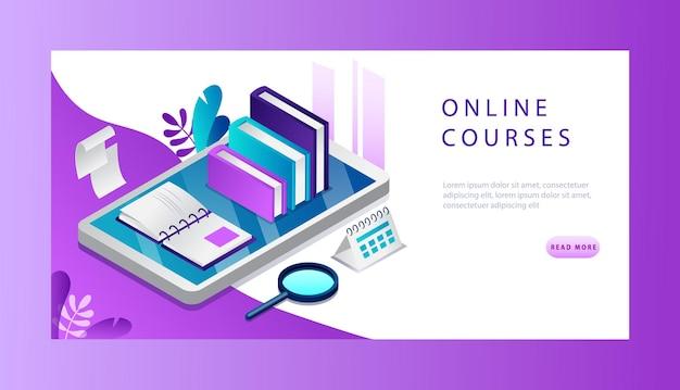 Isometrische 3d online cursusconcept. website bestemmingspagina. Premium Vector
