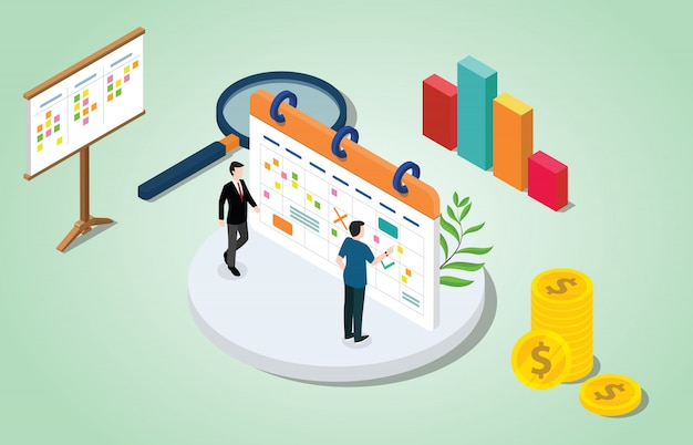 Isometrische 3d project management concept met zakelijke agenda Premium Vector