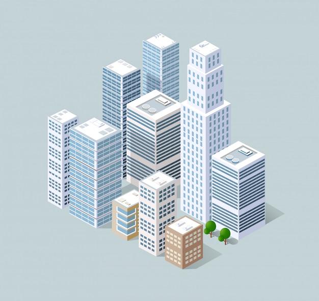 Isometrische 3d-stad driedimensionaal Premium Vector