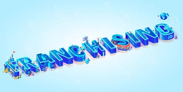 Isometrische 3d word franchising Premium Vector