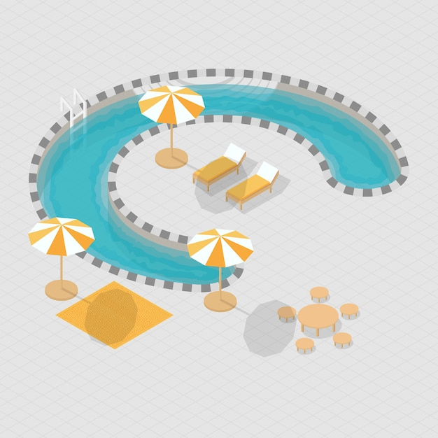 Isometrische 3d zwembad alfabet c Premium Vector