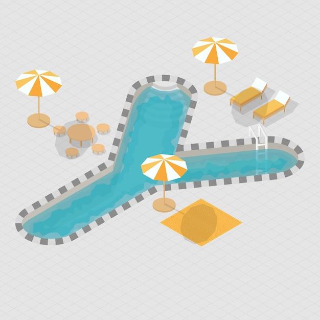 Isometrische 3d zwembad alfabet y Premium Vector