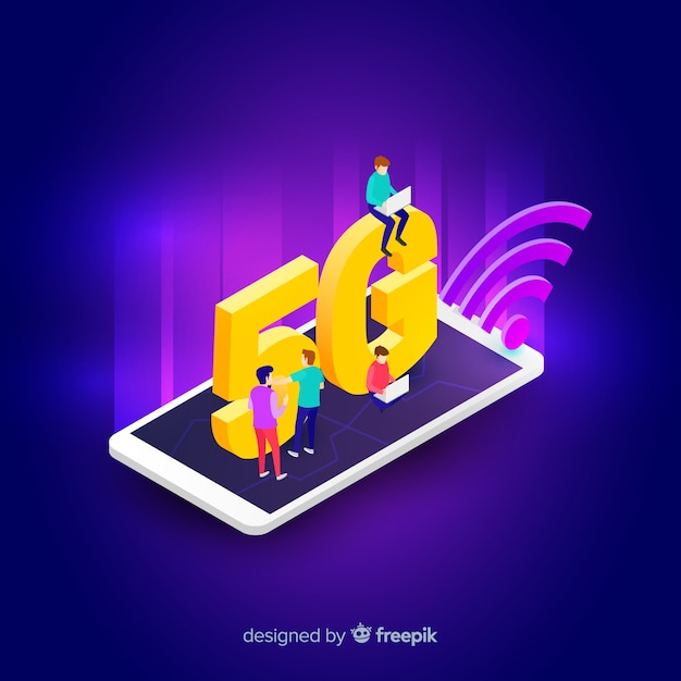 Isometrische 5g concept achtergrond op een mobiele telefoon Gratis Vector