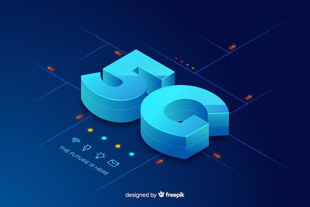 Isometrische 5g concept achtergrond Gratis Vector