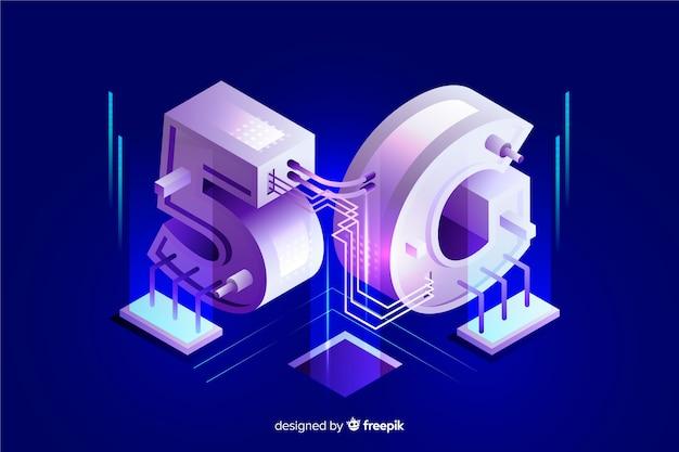 Isometrische 5g nieuwe draadloze internet wifi-verbinding Gratis Vector