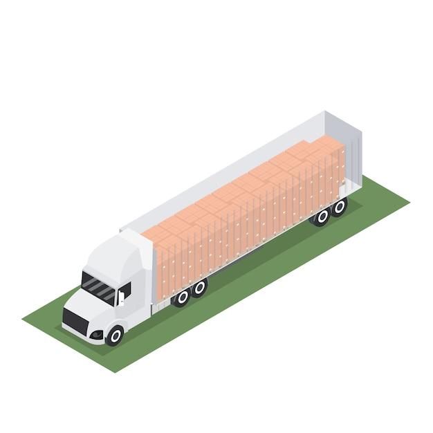 Isometrische aanhangwagen met container voor export met pallet Premium Vector