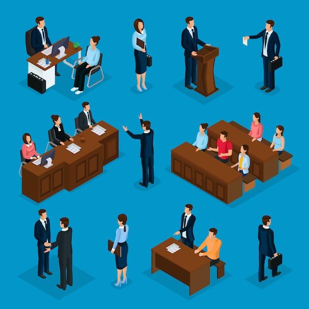 Isometrische advocatencollectie met advocaat die met cliënt spreekt die toespraak houdt over geïsoleerde rechtbank juryrechtspraak Gratis Vector