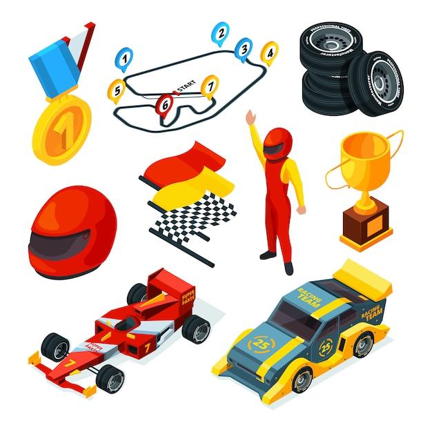 Isometrische afbeeldingen van racewagens en formule 1-symbolen Premium Vector