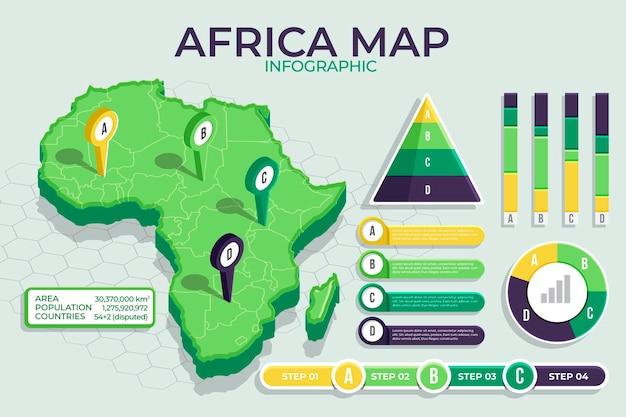 Isometrische afrika kaart infographic Gratis Vector