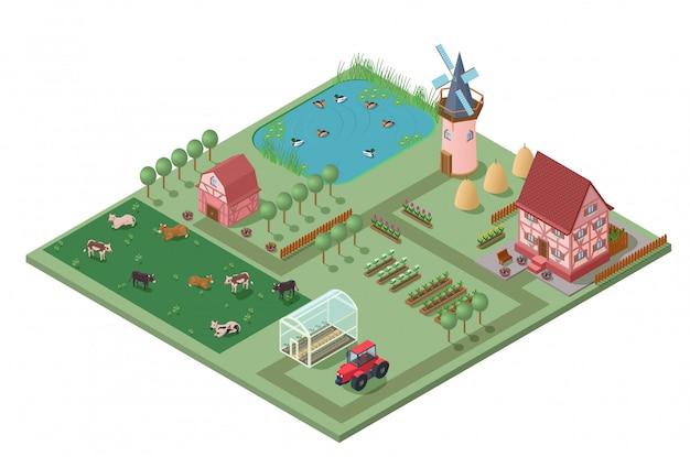 Isometrische agrarische landbouw concept Gratis Vector
