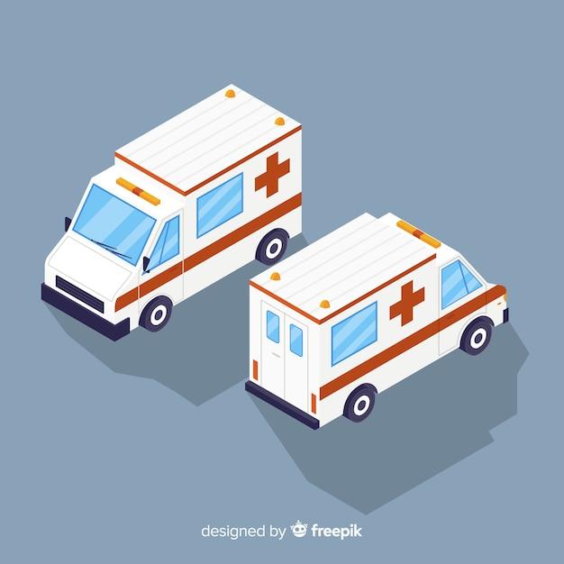 Isometrische ambulance concept Gratis Vector