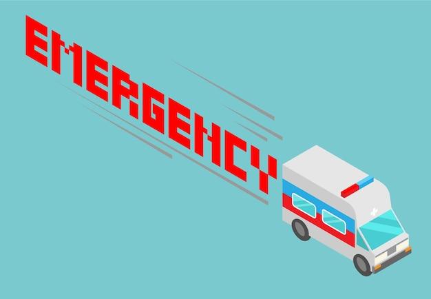 Isometrische ambulance met emergency woordontwerp Premium Vector