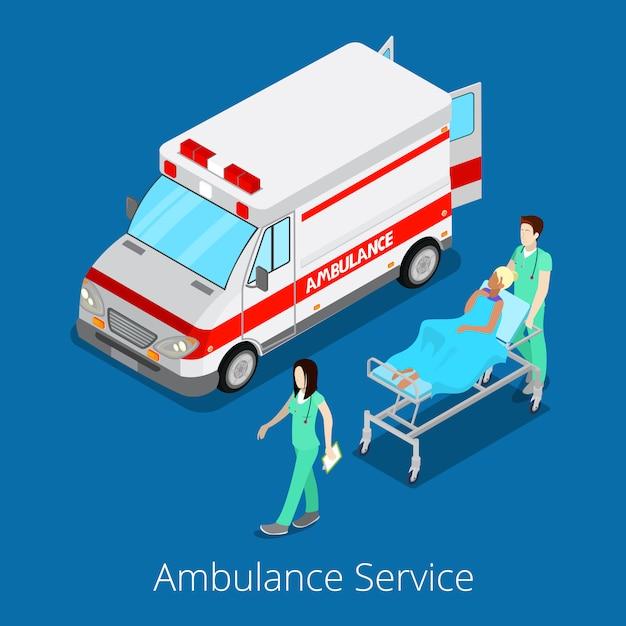 Isometrische ambulancedienst met auto voor noodgevallen, verpleegkundige arts en patiënt. Premium Vector