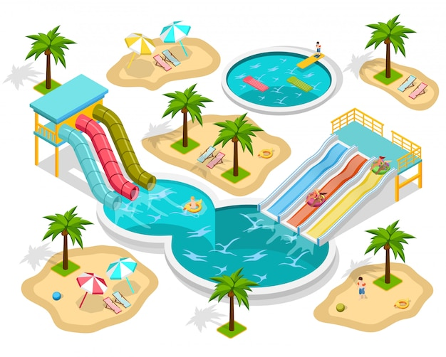 Isometrische aqua park-samenstelling Gratis Vector