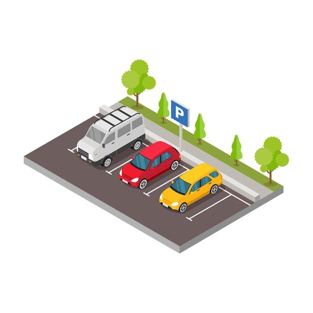 Isometrische auto op de parkeerplaats met illustratie van bomen Premium Vector