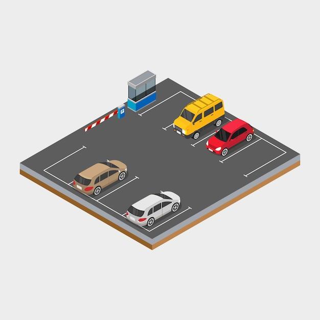 Isometrische auto op de parkeerplaats ontwerp concept illustratie Premium Vector