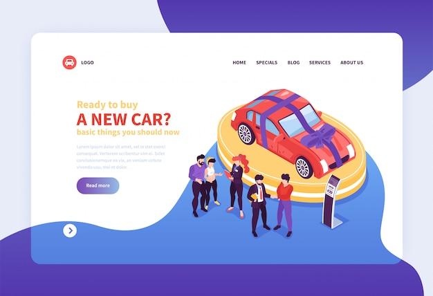Isometrische auto showroom website bestemmingspagina concept achtergrond met afbeeldingen klikbare links en bewerkbare tekst illustratie Gratis Vector