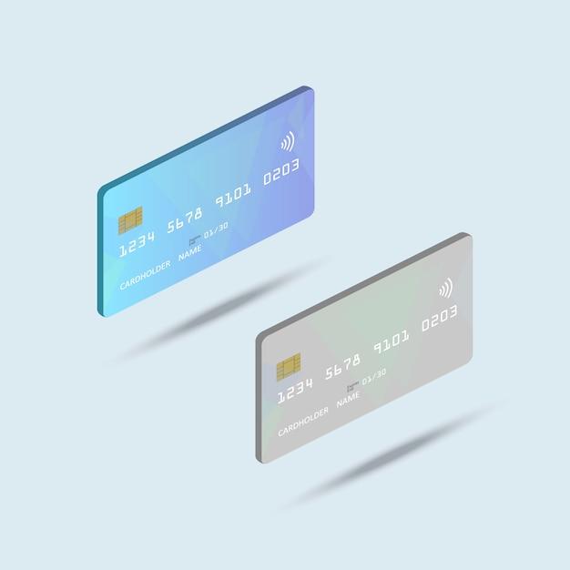 Isometrische bankkaart Premium Vector