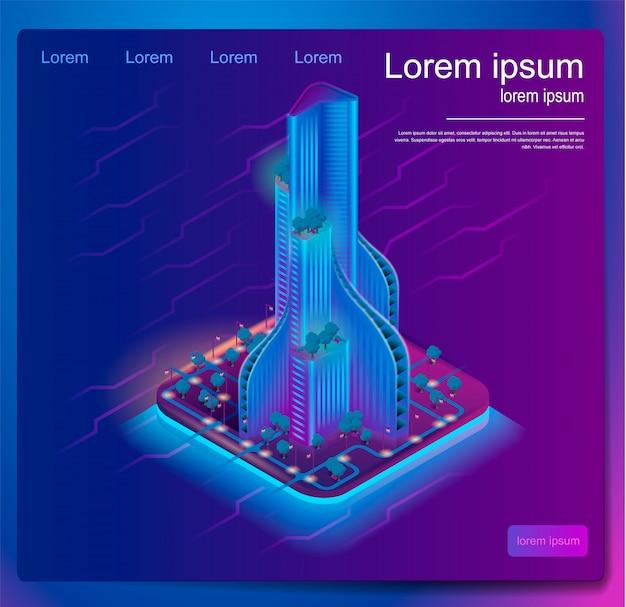 Isometrische banner augmented reality voor architecten Premium Vector