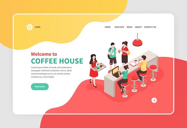 Isometrische banner met barista en mensen die bij barteller eten in 3d koffiehuis Gratis Vector